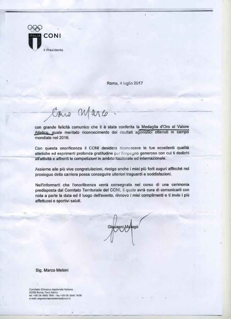 Lettera del Presidente del CONI Giovanni MAlagò per la medaglia d'oro 2017 Marco Meloni