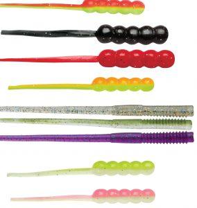 una selezione di forme e colori di vermi in silicone
