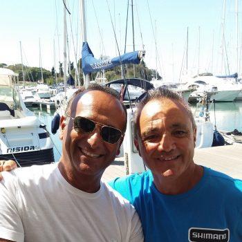 Il presentatore Carlo Conti a Pesca con Marco Meloni