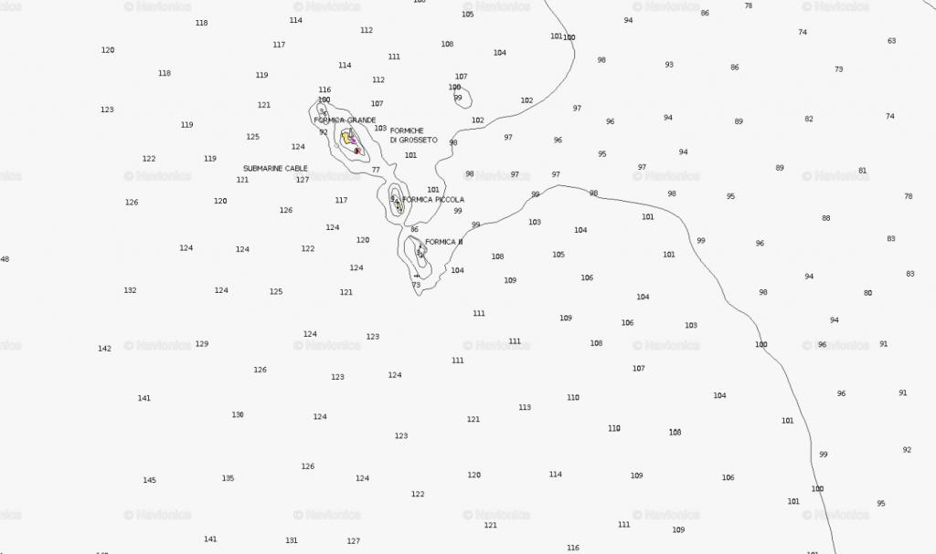 carta nautica. La secca di Zi paolo si vede a nord della formica grande
